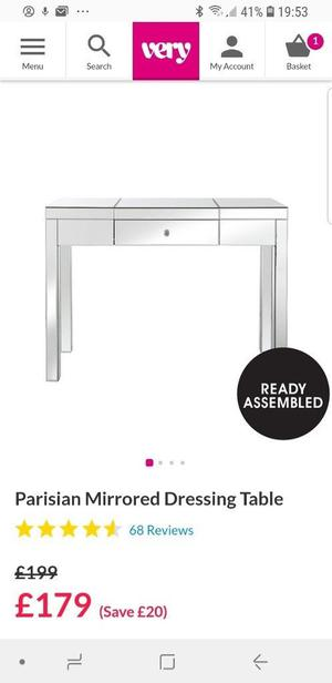 brand new mirrired table
