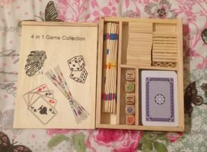 4 in 1 Wooden Game Set. Cards/Dominoes/Poker Dice/Pick Up Sticks.