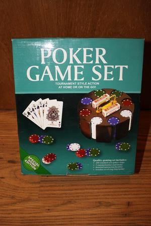 Poker game set with chips cards and chip holder