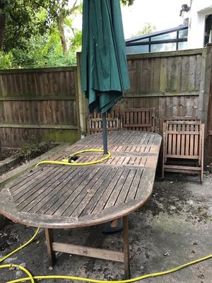 Wooden Garden table to seat 6 + 6 wooden chairs + umbrella