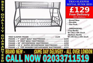 DOUBLE TRIO BUNK BED AND SUPER ORTHOPAEDIC MATTRESS Dumont