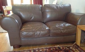 Chocolate brown real leather sofa and foot stool