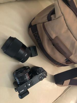 Newly bought Sony A Camera with Sigma 33Bmm F1.4 DC DC Sony E-mount black and camera bag