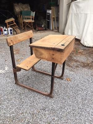 SCHOOL DESK AND SEAT IN IRON FRAME