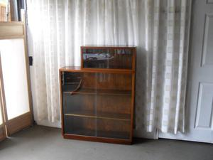 VINTAGE WALNUT VENEER TWO TIER GLAZED BOOKCASE DISPLAY CABINET FREE DELIVERY.