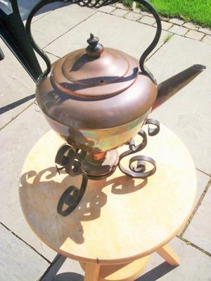 copper kettle & stand with oil burner 100 years old