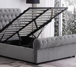 High Quality - Velvet Double Bed/King Size Bed Frame Storage Option Available  POCKET MATTRESS