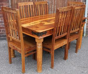 Solid Sheesham Table & 6 Chairs