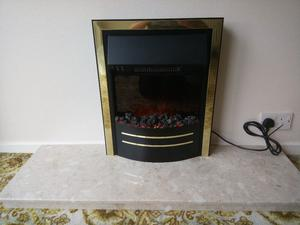 Electric Coal Effect Fire & Marble Hearth