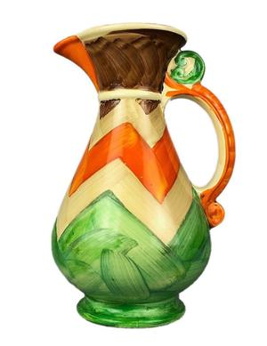 MYOTT SON & Co. ART DECO HAND PAINTED ORANGE/GREEN STRIPED ABSTRACT JUG PITCHER