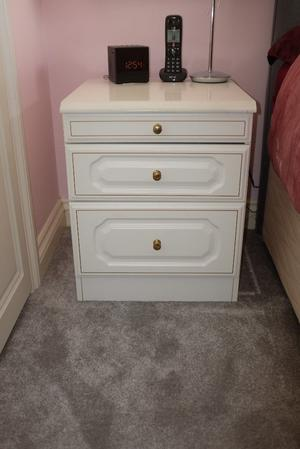 Bedroom Dressing Table, Mirror, Stool, 2 x Bedside Cabinets & Tallboy in White