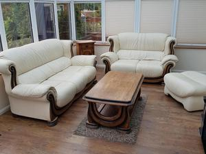 Cream Leather Sofas with matching Coffee table
