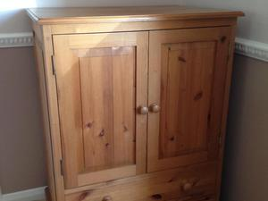 Solid pine TV cabinet, ideal toy storage or for games