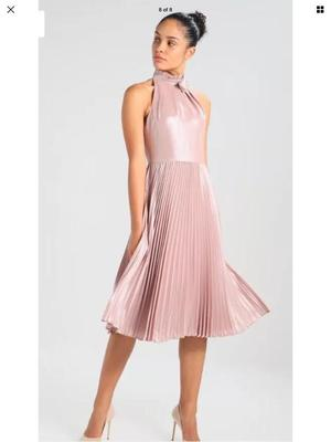 Ted Baker olivien rose gold pleated dress size ted 3 uk 12 RRP £229