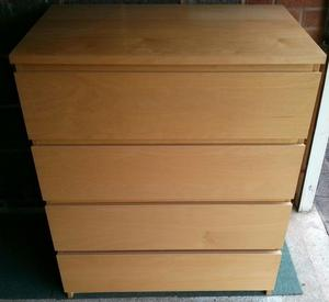 Ikea 4 draw chest of Drawers in Birch