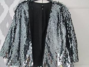 LADIES STUNNING LADIES MIRROR SHINY OPEN FRONT BOXY JACKET - SIZE M