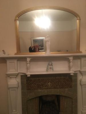 Large antique gilt over mantle mirror