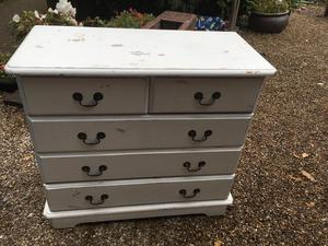 Painted Solid Wood 5 Draw Chest of Draws - Very Solid - All