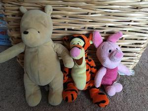 Winnie the pooh, Piglet and Tigger soft toys in excellent
