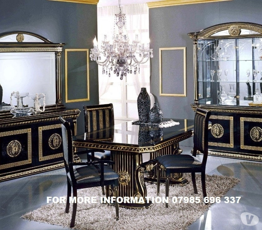 VERSACE STYLE ROSSELLA ITALIAN DINING TABLE & 6 CHAIRS IN HI
