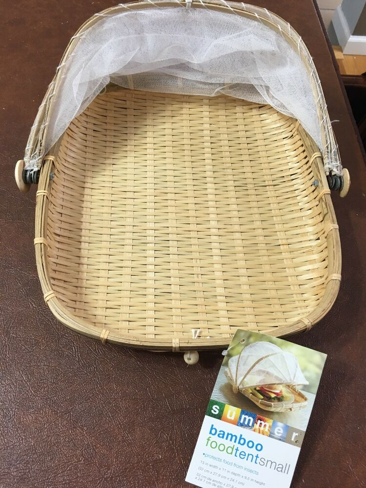 Bamboo Picnic Food Set Outdoor Patio Protected Mesh Netting