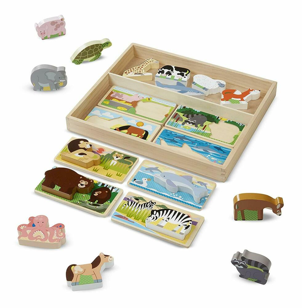 Melissa & Doug Picture Puzzle Boards with Chunky Wooden