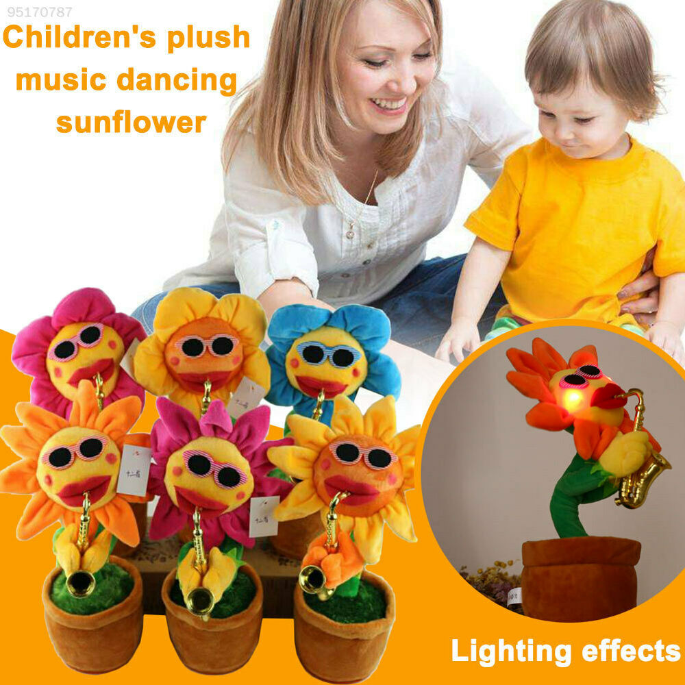 48D3 Electric Sunflowers Plush Toys Style Dancing Rattle
