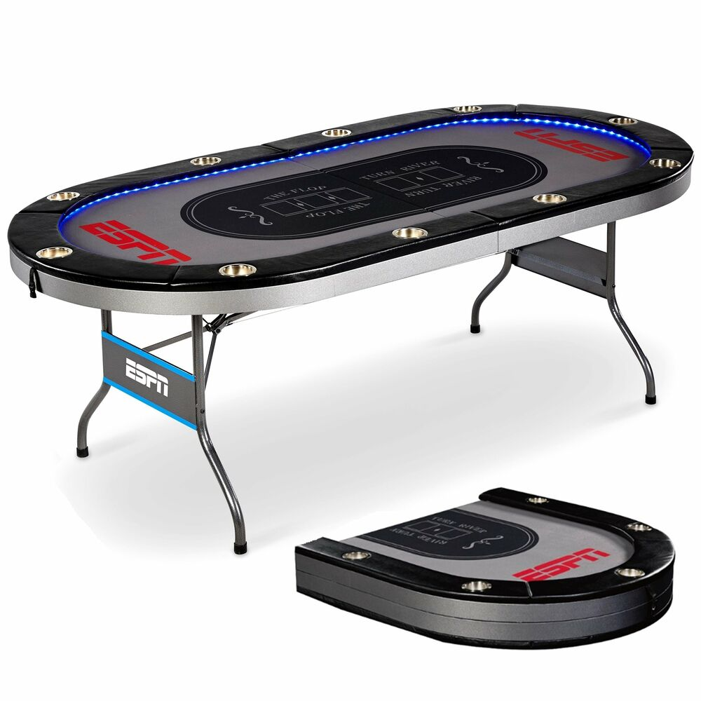 ESPN 10 Player Premium Poker Table with In-Laid LED Lights,