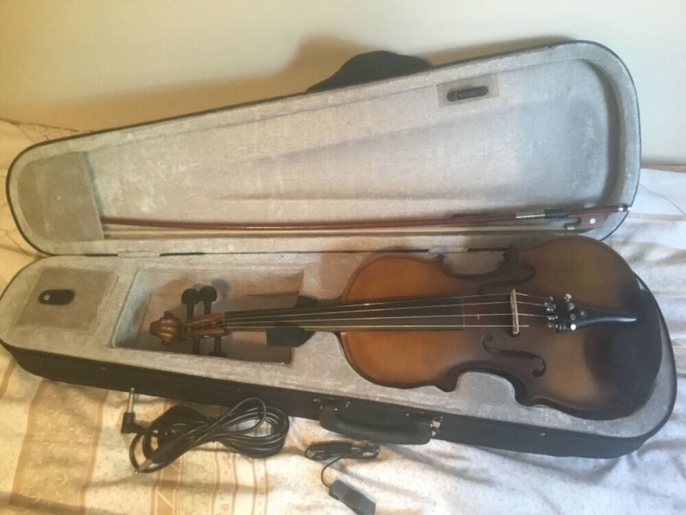 ammoon Full Size 4/4 Acoustic Electric Violin Fiddle Solid