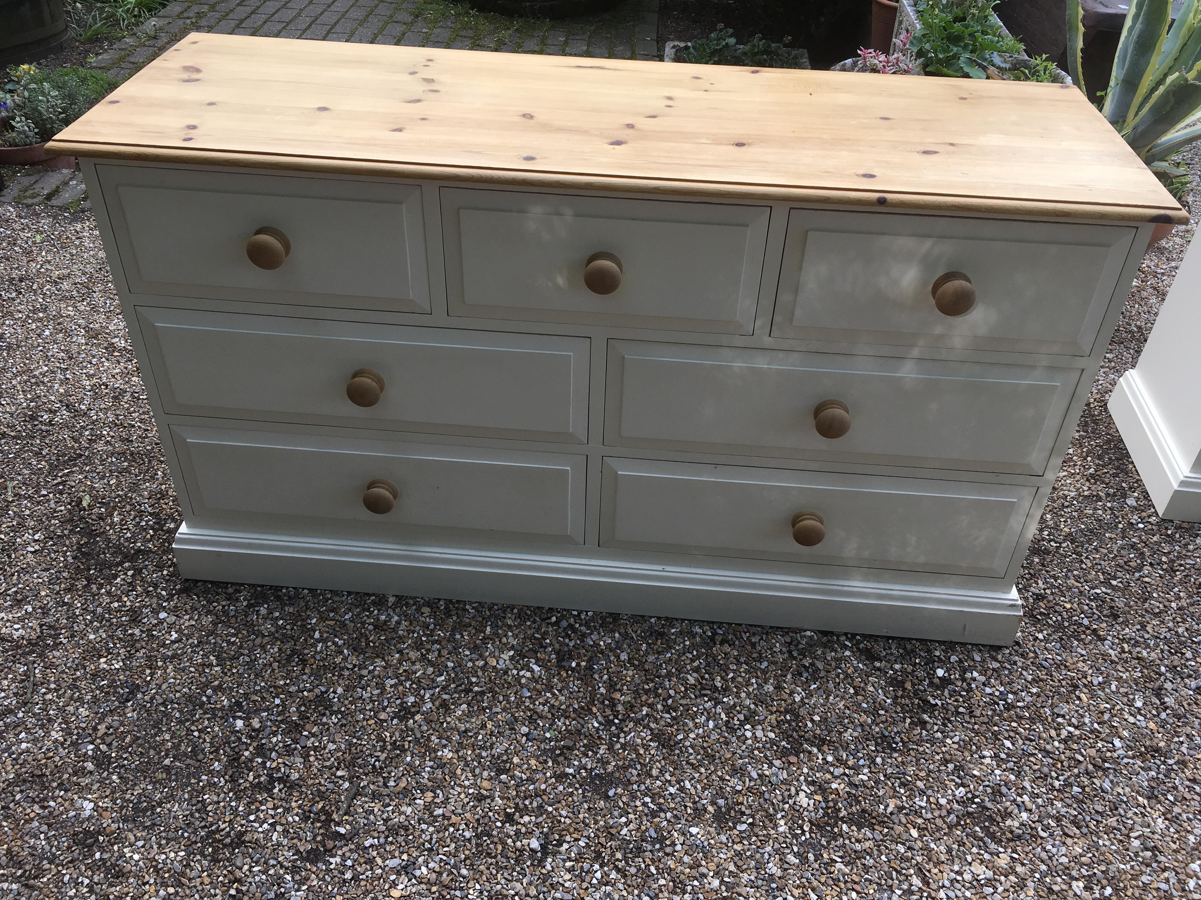 Solid Pine Painted 7 Draw Chest - As New Condition