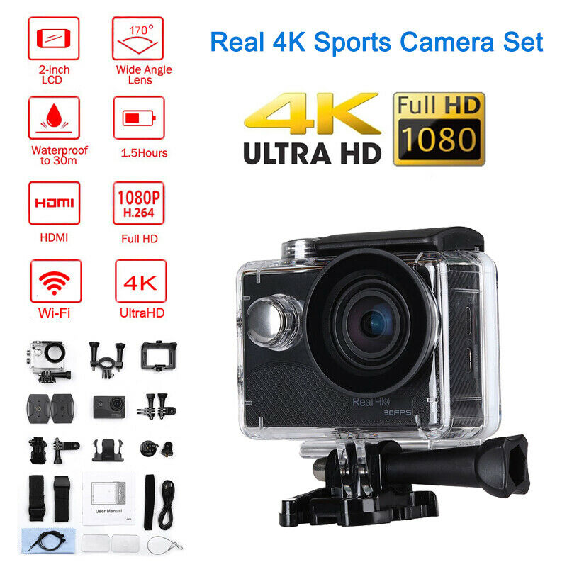 HDMI 170° V316 Real 4K 30FPS Action Camera Waterproof Video