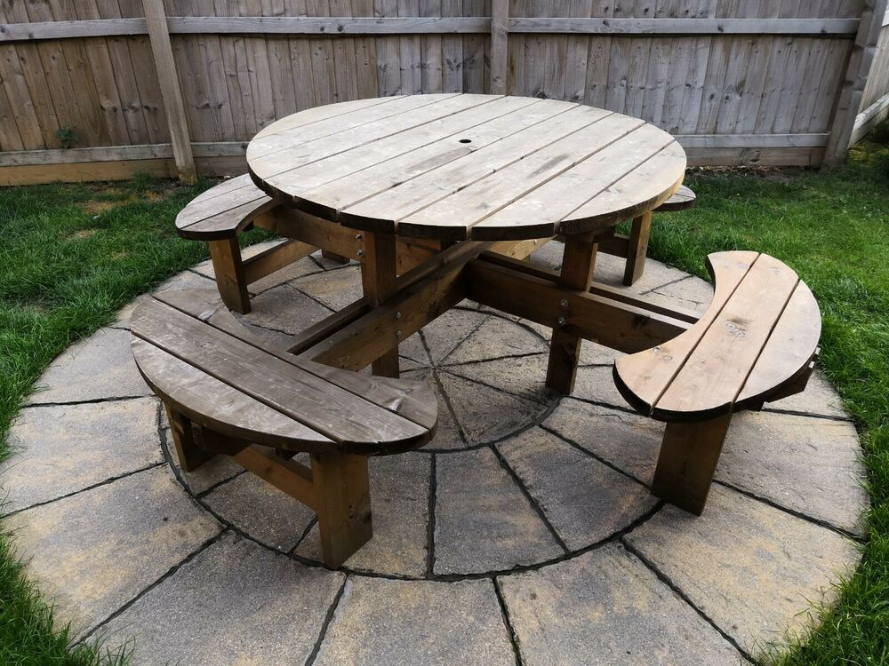 8 Seater treated Wooden Garden table pub style