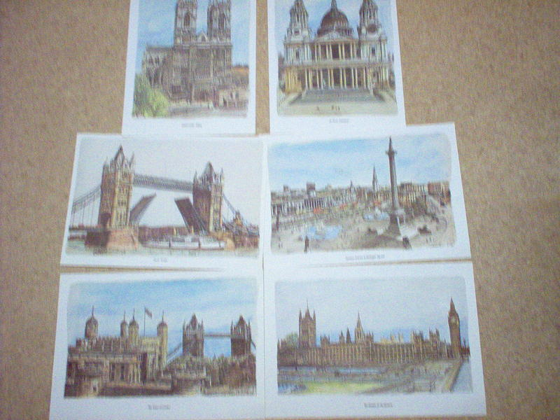 Coloured Prints Of London Landmarks x 6