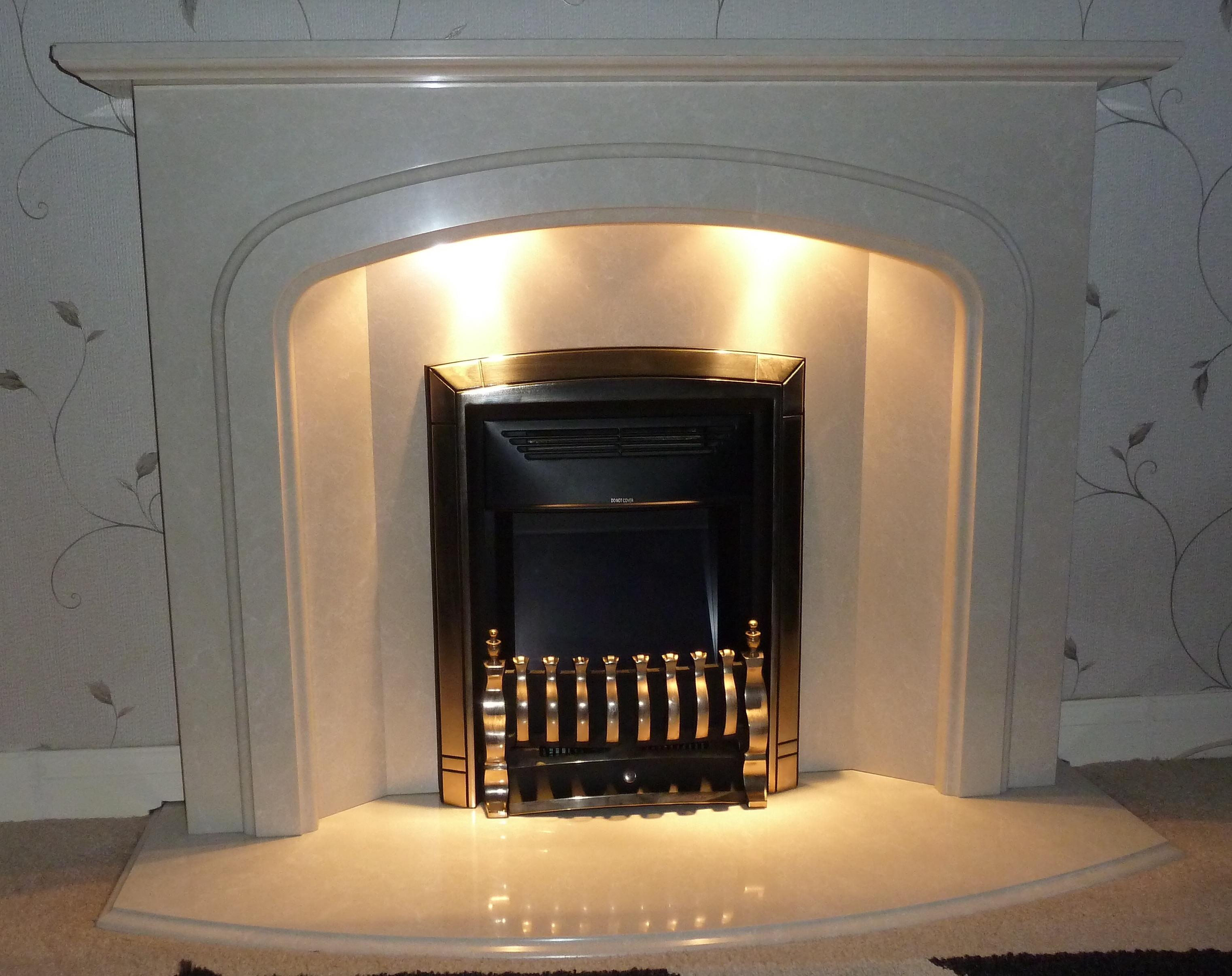 Electric Dream Fire Effect Heater with Marble Mantlepiece