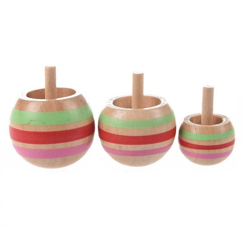 3pcs Wooden Colorful Spinning Top Kids Toy 3 Sizes for
