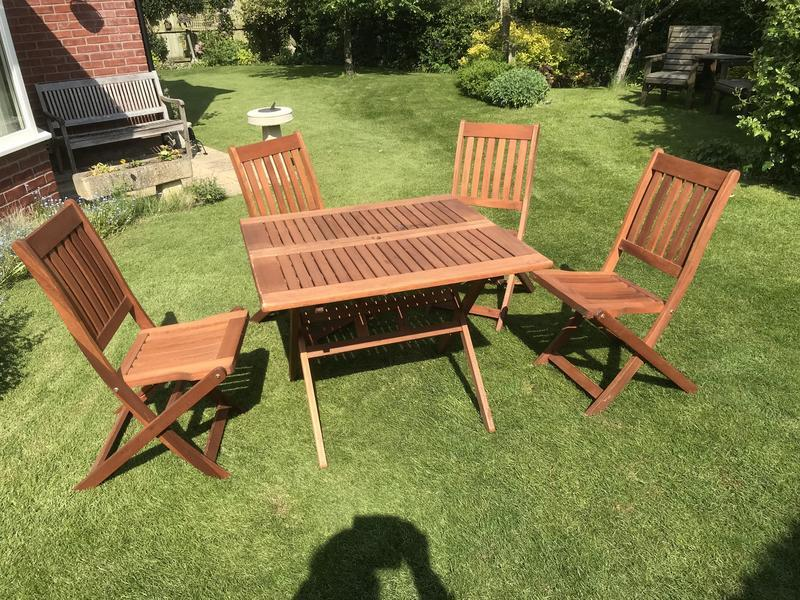Folding Wooden Garden Table & 4 Chairs