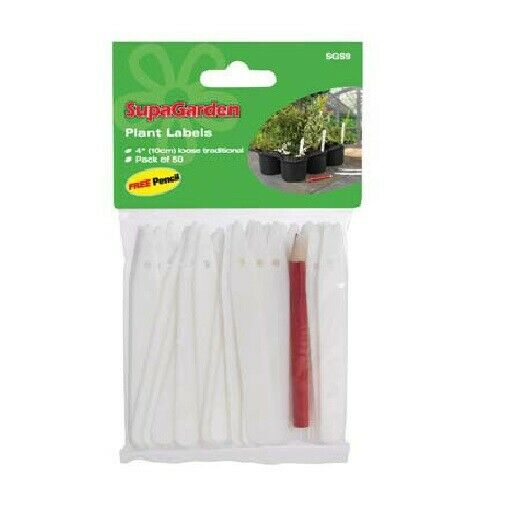 White Plant Labels SupaGarden Plants Labels 100 Pack 4""