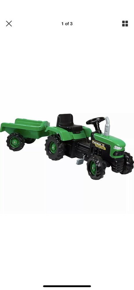 DOLU Pedal tractor with a siding, green RRP £