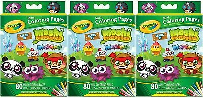 X 3 Packs Crayola Moshi Monsters 80 Mini Colouring Pages