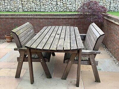 6ft Wooden Garden Table and two Double Benches