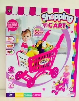 56pcs Kids Childrens Shopping Trolley Cart Role Play Set Toy