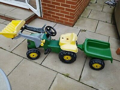 John Deere Childrens Pedal Tractor With Loader And Trailer