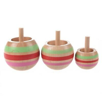3X(3pcs Wooden Colorful Spinning Top Kids Toy 3 Sizes for
