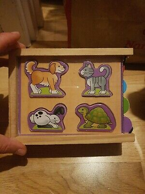Melissa & Doug Animals Wooden Mini-Puzzle Set With Storage