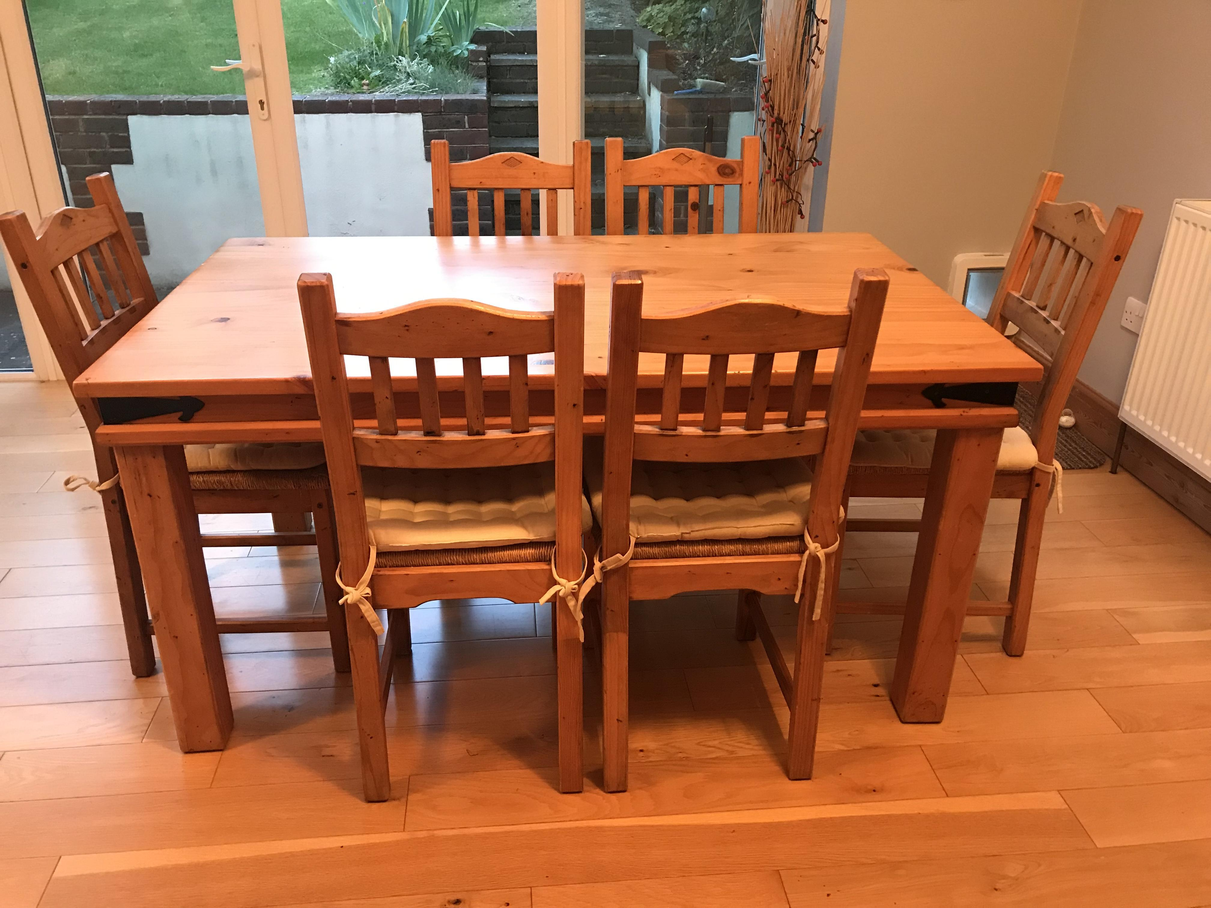 Rustic pine dining table and 6 chairs