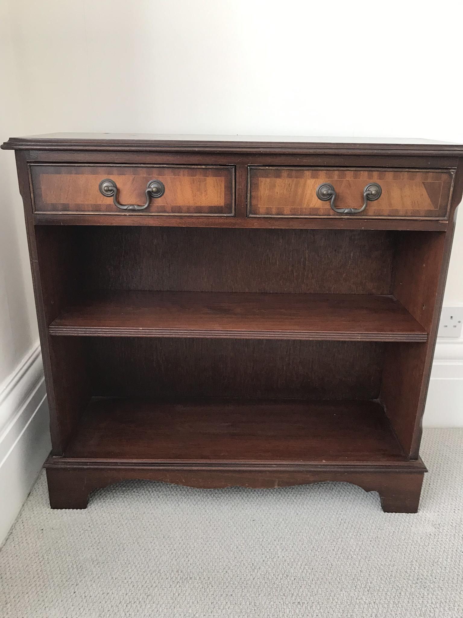 Mahogany bookcase with two drawers