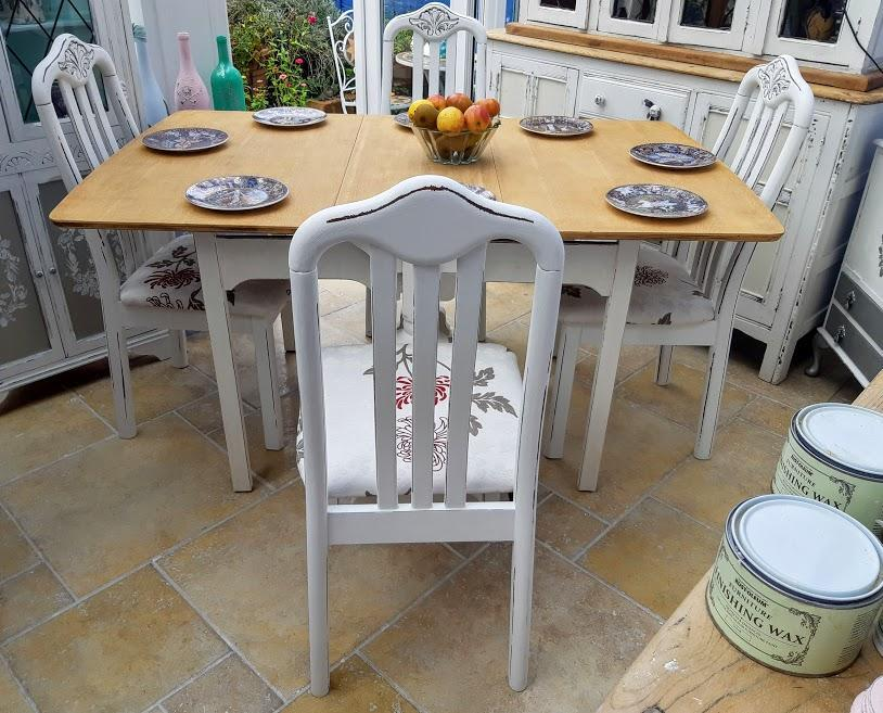 Shabby chic, vintage oak, drop leaf table and 4 x newly