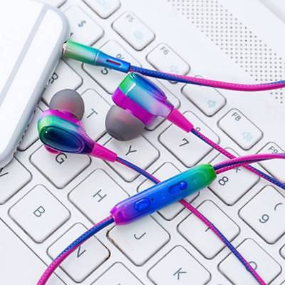 Colorful gradient Stereo Mic Earphone Mobile Phone In-ear