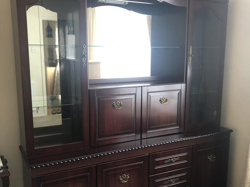 Mahogany Effect Display Cabinet