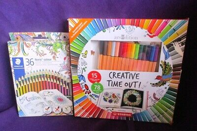 Stabilo Creative Time Out Colouring Book &15 Pens & 36